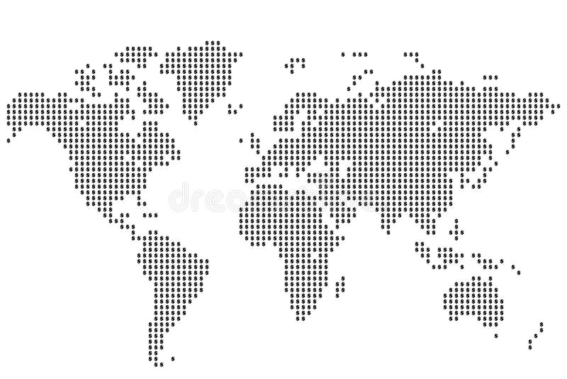 Dolarowa światowa mapa ilustracji