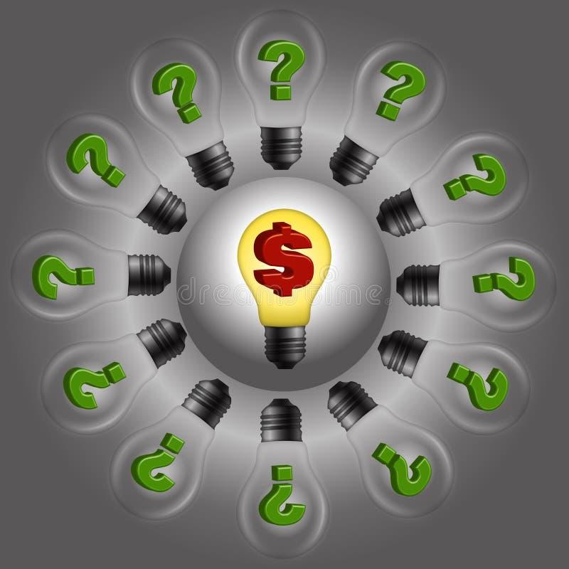 Dolarowa żarówka wokoło pytanie żarówek ilustracja wektor