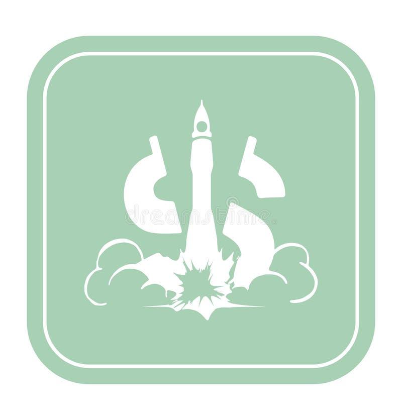 Dolarowa ikona jak astronautyczna rakieta na nowej tło wektoru ilustraci royalty ilustracja