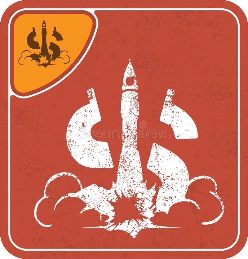 Dolarowa ikona lubi astronautyczną rakietę na czerwonej tło wektoru ilustraci royalty ilustracja