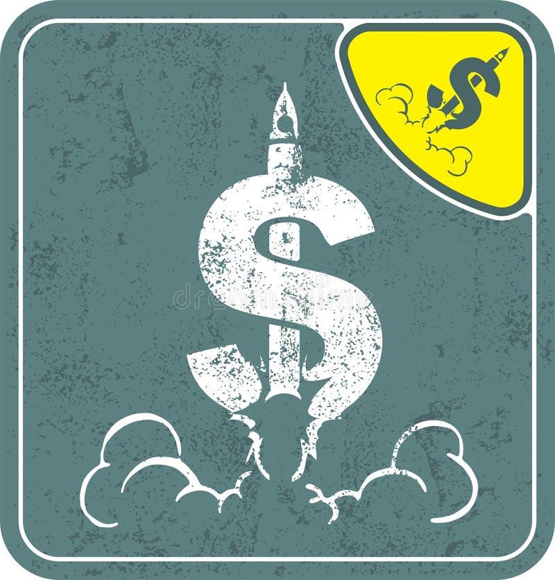 Dolarowa ikona lubi astronautyczną rakietę na podławej tło wektoru ilustraci ilustracji