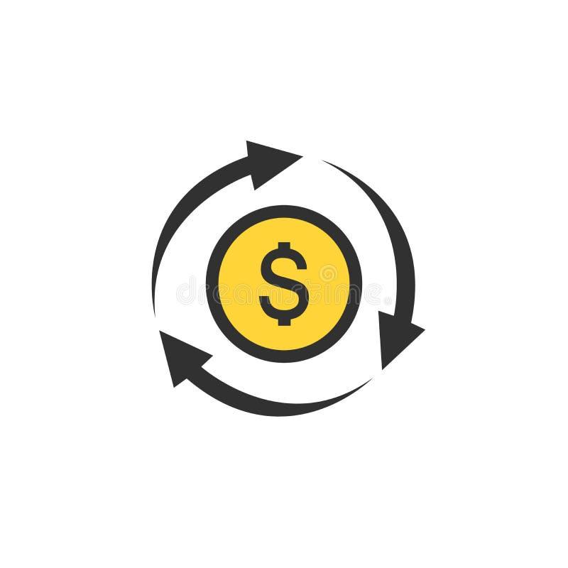 Dolarowa ikona w okrąg strzały ikonie bank, waluta, gotówka, ładunek, wymiana, finanse, kredyt, płatnicza symbolu wektoru ilustra ilustracji