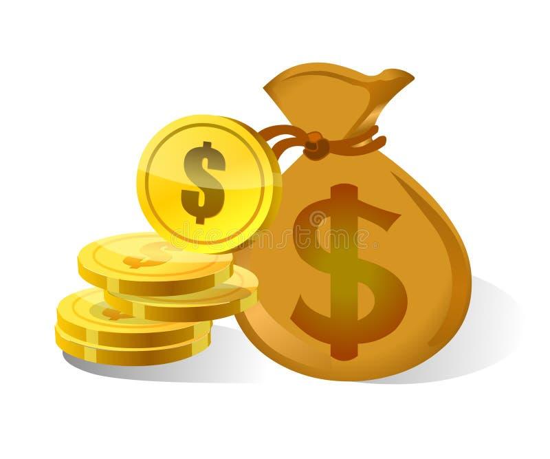 Dolarowa pieniądze torba, ikona i ilustracja wektor