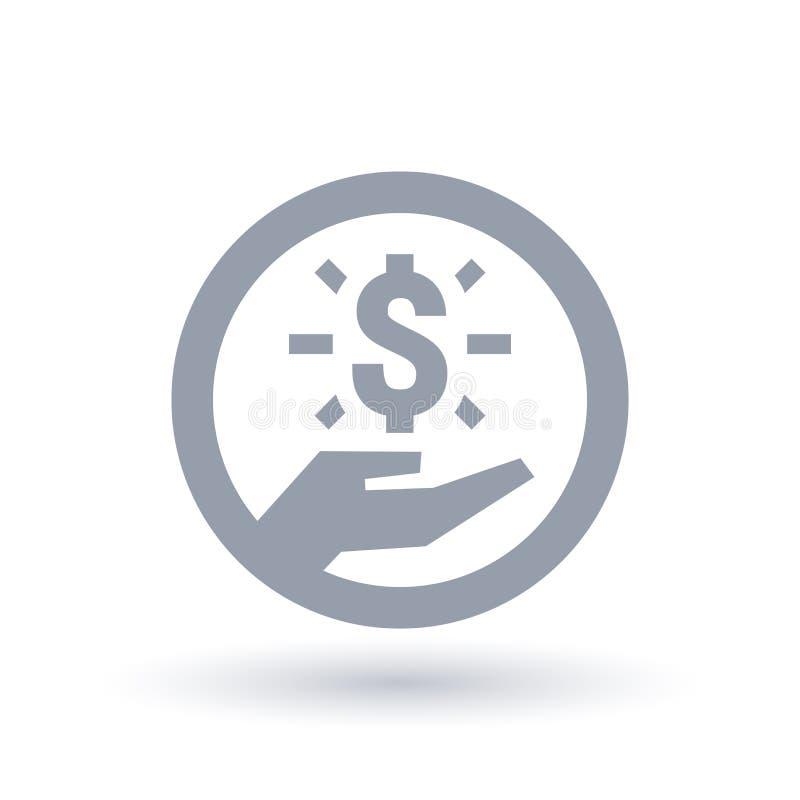 Dolarowa ręki ikona Pieniądze sukcesu symbol royalty ilustracja