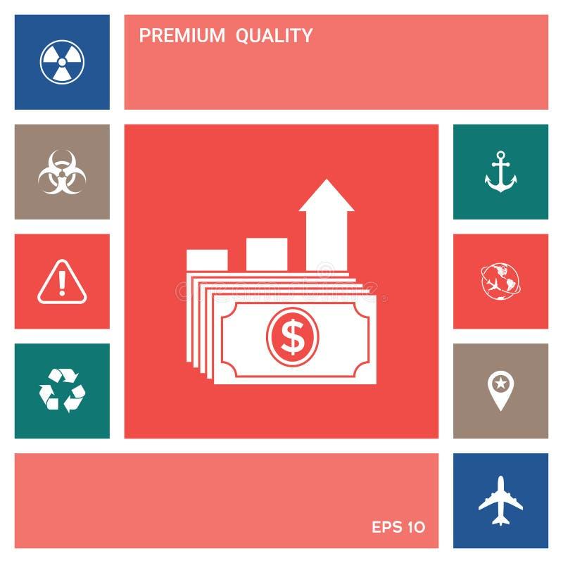 Dolarowa sterty ikona Pieniądze przyrosta pojęcie elementy projektów galerii ikony widzą odwiedzić twój więcej moich piktogramy p royalty ilustracja