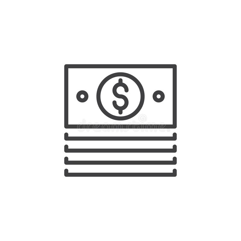Dolarowa sterty paczki konturu ikona royalty ilustracja