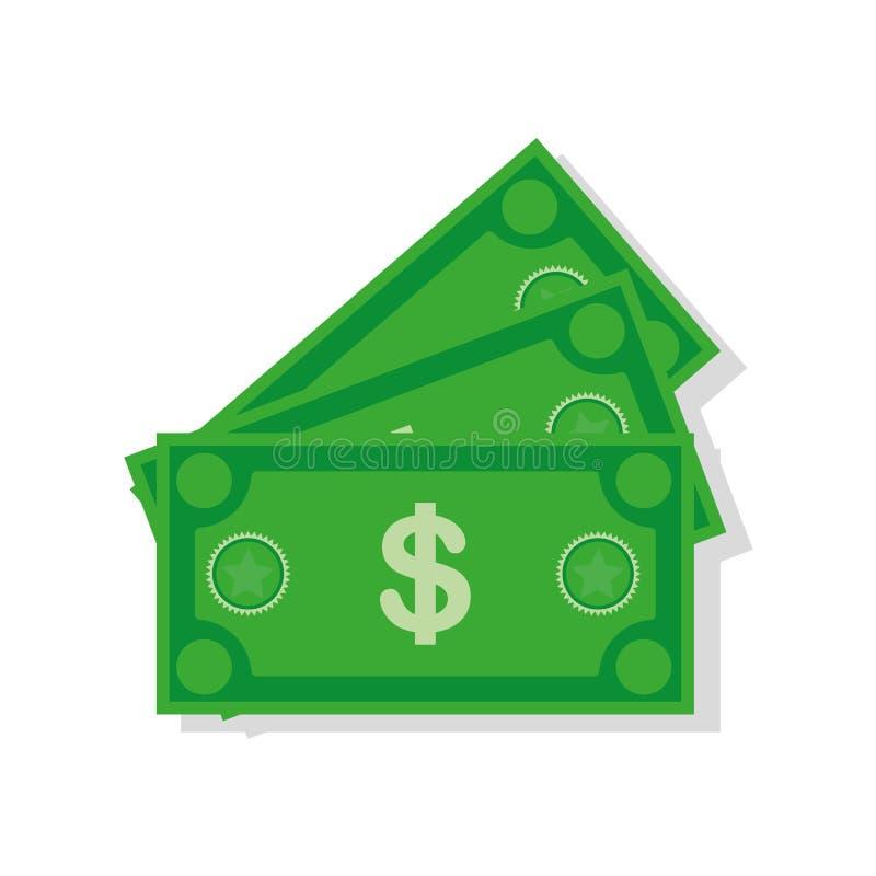 Dolarowa waluta banknotu ikona, akcyjna wektorowa ilustracja Dolarowa waluty ikona w mieszkanie stylu Pieni?dze got?wka obraz royalty free