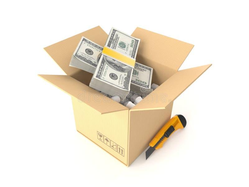 Dolarowa waluta wśrodku pakunku ilustracji