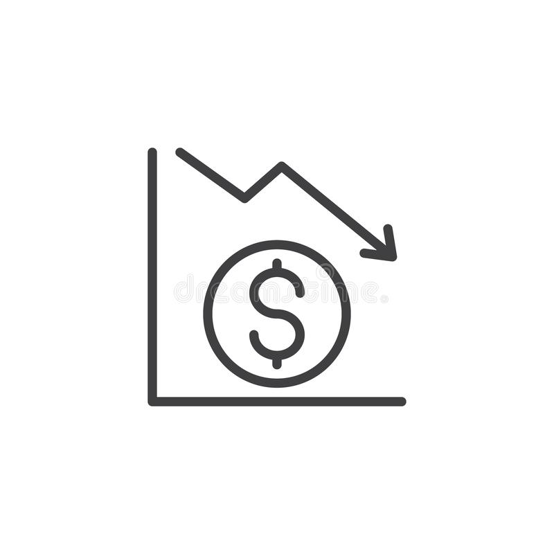 Dolarowa wykresu konturu ikona royalty ilustracja