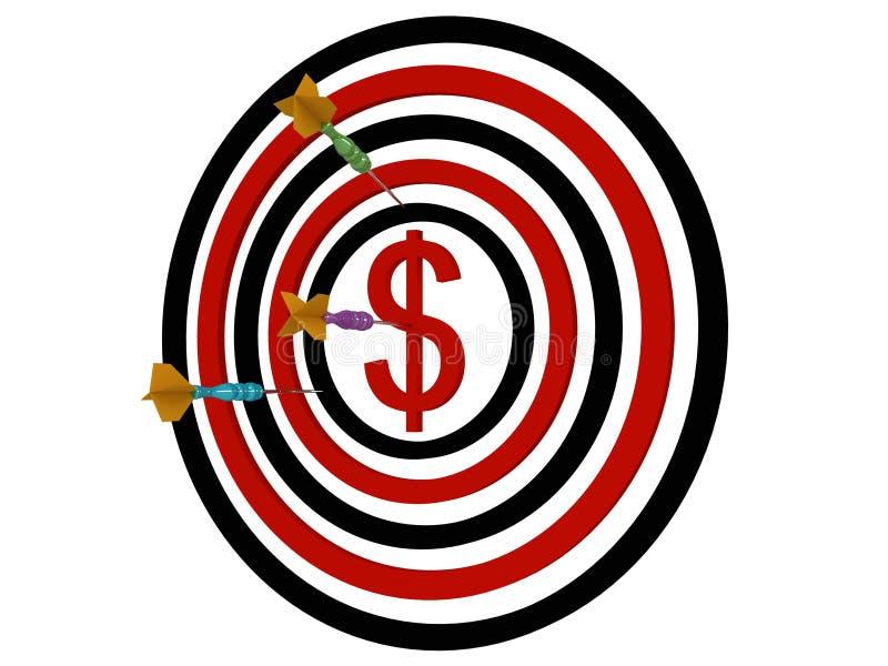 dolarowe dartboard strzałki ilustracja wektor