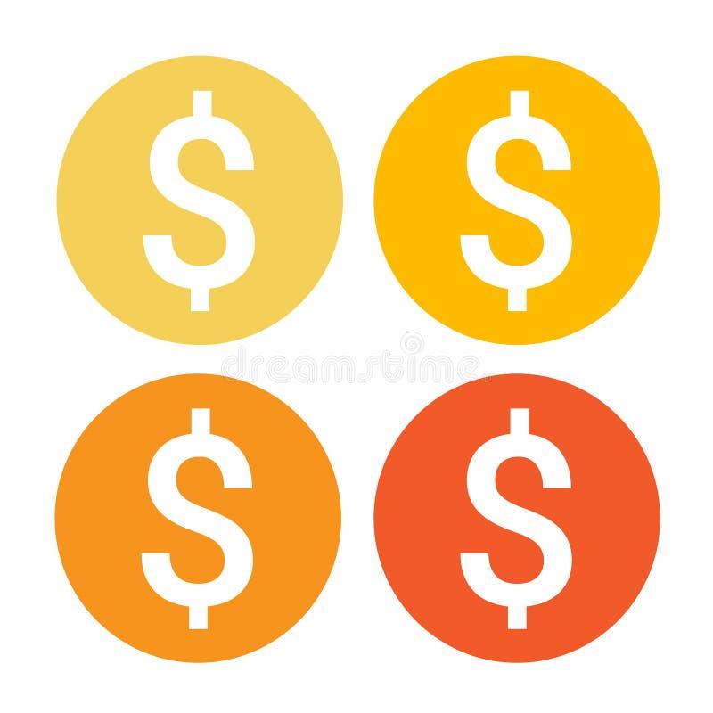 Dolarowego znaka pieniądze sieci ikony Kolorowy set royalty ilustracja