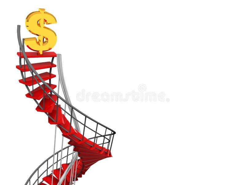 dolarowego znaka spirali schodki ilustracja wektor