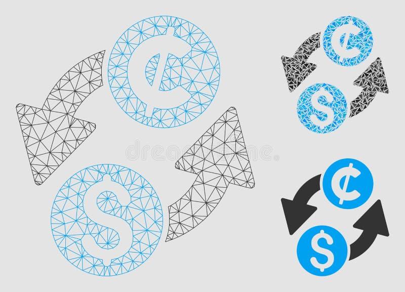 Dolarowej cent wymiany Wektorowej siatki trójboka i modela mozaiki 2D ikona ilustracja wektor