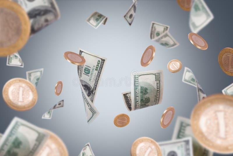 Dolarowi banknoty i monet Latać fotografia royalty free