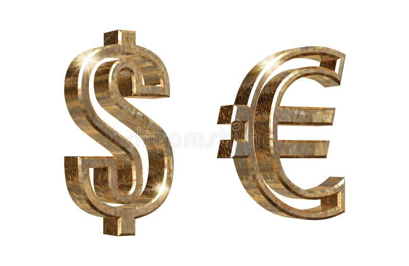 Dolarowi i euro symbole odizolowywający na bielu obraz royalty free