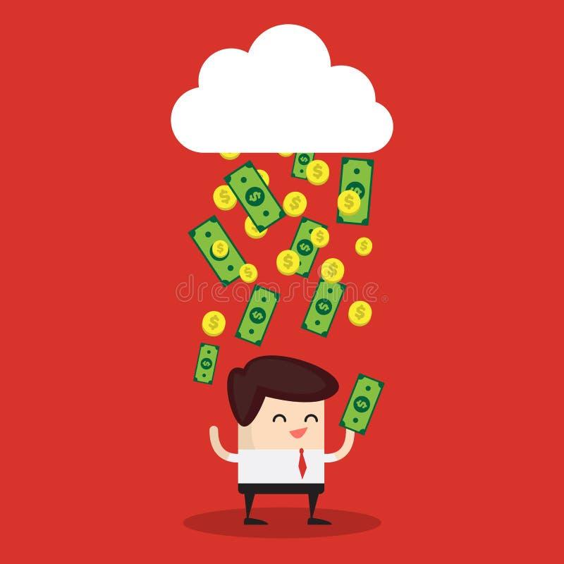 Dolarowi rachunki pada od chmury zdjęcia royalty free