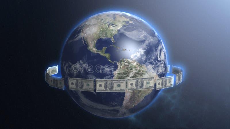 Dolarowi rachunki wokoło Ziemskiej planety, pieniądze rządzący świat, przepływ gotówki, globalny handel zdjęcie royalty free