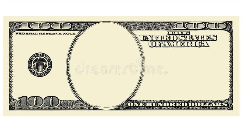 100 Dolarowy Bill przód bez twarzy, odosobnionej dla projekta ilustracji