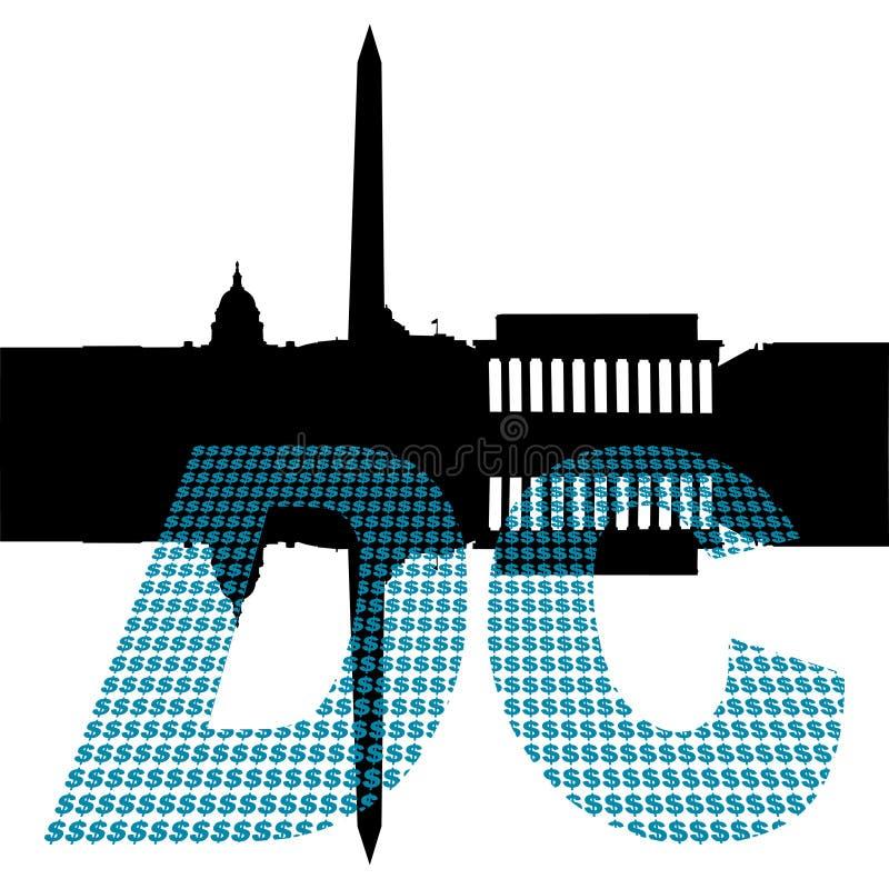 dolarowy Dc tekst Washington ilustracja wektor