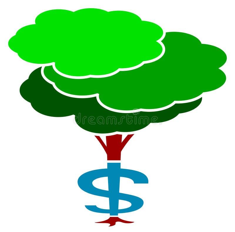 Dolarowy drzewo ilustracja wektor