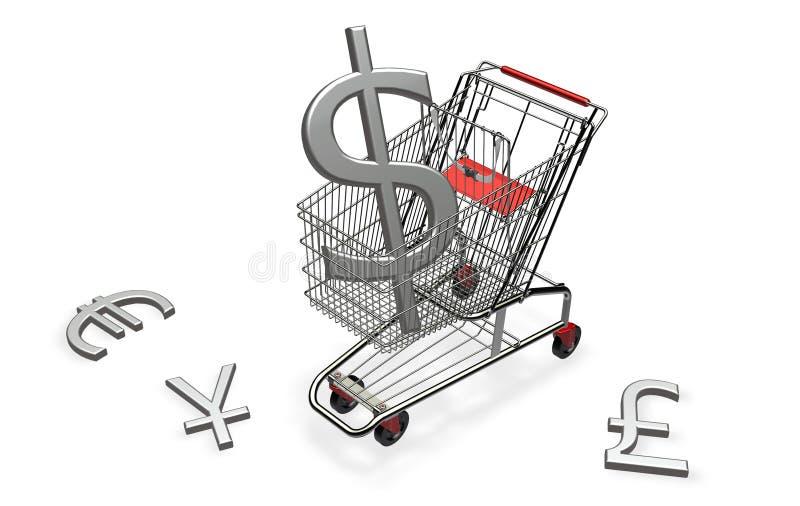 dolarowy fura zakupy zdjęcia stock