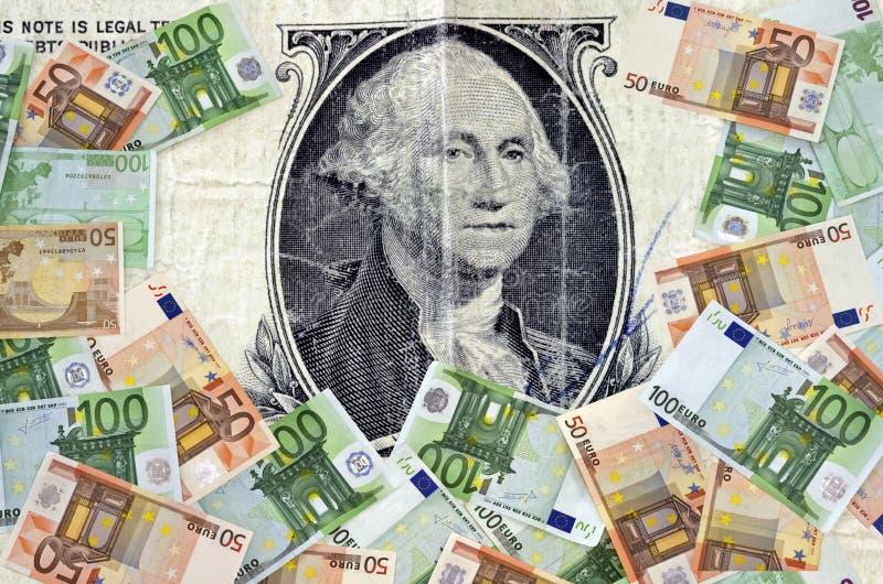 Dolarowy i Euro pojęcie obrazy royalty free