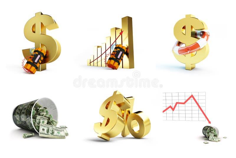 Dolarowy kryzys ustawiający na białym tle ilustracja wektor