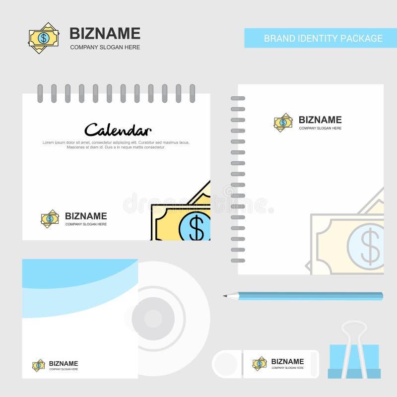 Dolarowy logo, Kalendarzowy szablon, cd pokrywa, dzienniczek i USB gatunek pakunku projekta wektoru Stacjonarny szablon, ilustracja wektor