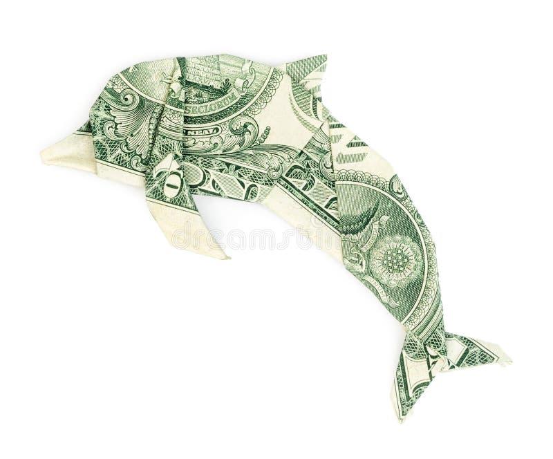 Dolarowy origami delfin odizolowywający zdjęcie royalty free