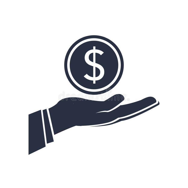Dolarowy pieniądze na ręki ikony wektorze Pensyjna bankowości ikona, ecommerce, przychodu pojęcie Bryła znak dla darowizny, zapła royalty ilustracja