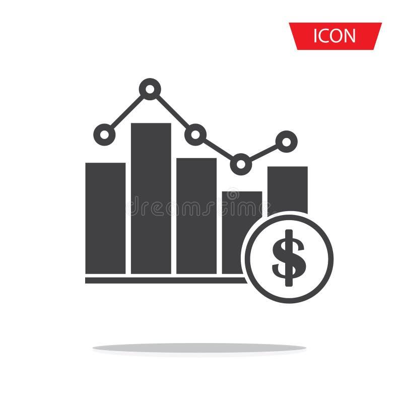 Dolarowy pieniężny sukces prętowej mapy wykres narastający w górę strzałkowatej ikony royalty ilustracja