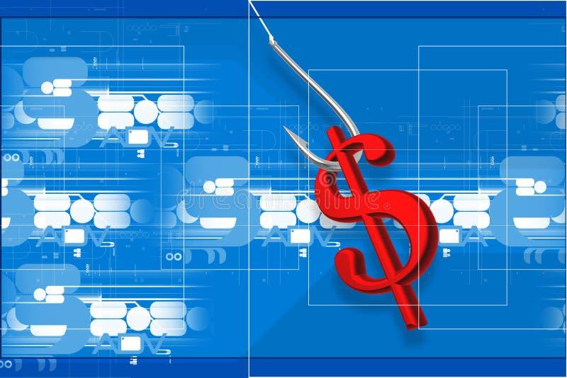 dolarowy połowu haczyka znak ilustracji