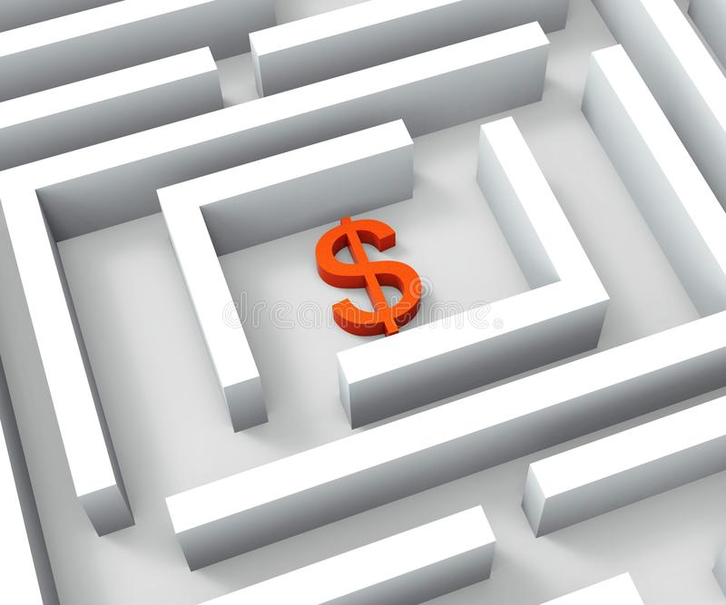 Dolarowy Podpisuje Wewnątrz labiryntów przedstawień dolarów kredyt royalty ilustracja
