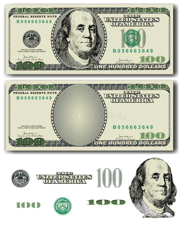 100 dolarowy rachunek royalty ilustracja