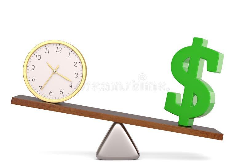 Dolarowy symbol i zegar na r?wnowadze nad bia?? t?a 3D ilustracj? ilustracja wektor