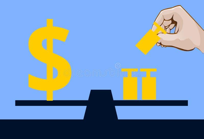 Dolarowy symbol na skala z niektóre ciężary royalty ilustracja