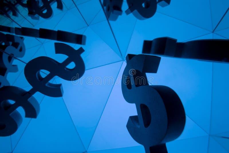 Dolarowy waluta symbol Z Wiele Odzwierciedla wizerunkami obraz royalty free