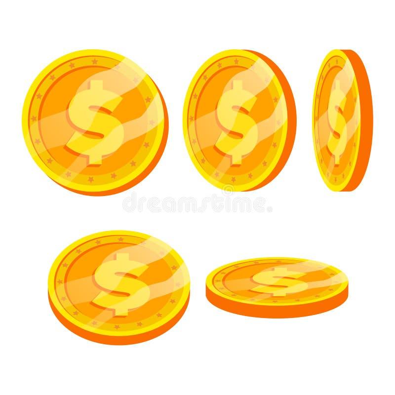 Dolarowy Złocistych monet wektoru Szyldowy set Mieszkanie, kreskówka Trzepnięcie Różni kąty Waluta pieniądze Inwestorska pojęcie  royalty ilustracja