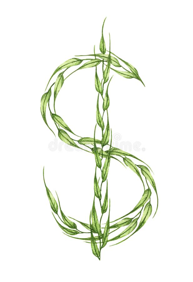 Dolarowy znak, abecadło zieleni liście beak dekoracyjnego lataj?cego ilustracyjnego wizerunek sw?j papierowa kawa?ka dym?wki akwa ilustracja wektor