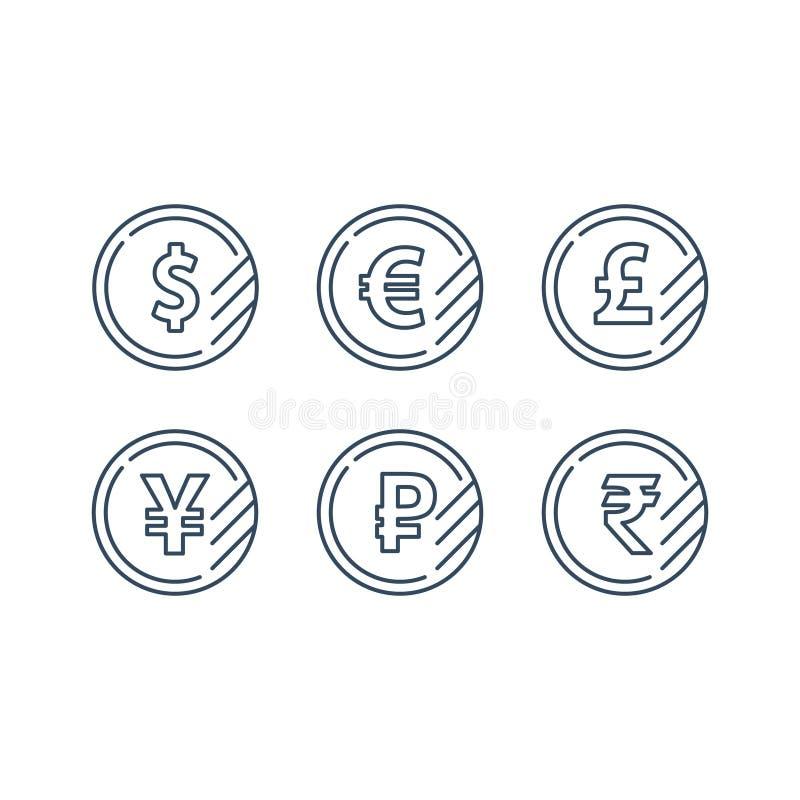 Dolarowy znak, euro symbol, funtowa ikona, rubel moneta, pieniężna wymiana walut ilustracji