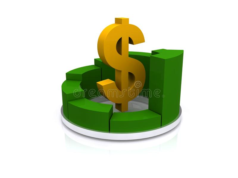 Dolarowy znak i oddolny wykres ilustracja wektor