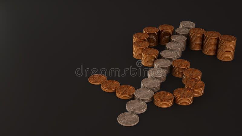 Dolarowy znak robić fizyczne monety, cryptocurrencies, Bitcoin i Ethereum złote i srebne, górniczy cryptocurrency pojęcie, zmrok zdjęcia stock