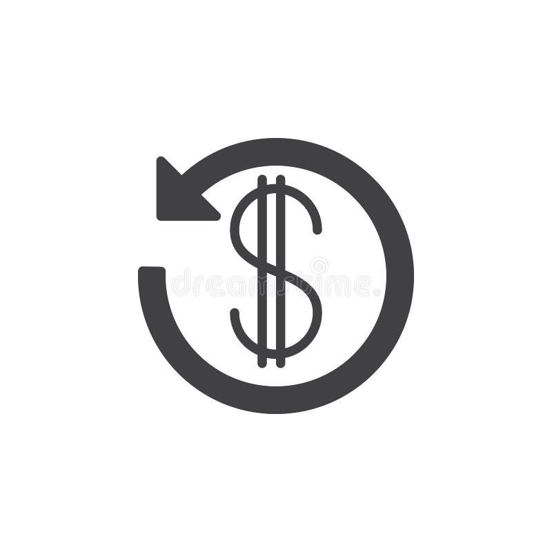 Dolarowy znak z strzała wokoło ikona wektoru, wypełniający płaski glif, stały piktogram odizolowywający na bielu ilustracja wektor