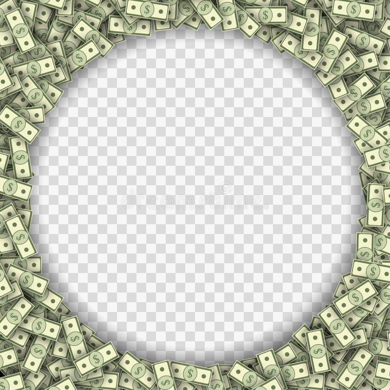 Dolarowych banknotów ramowa wektorowa ilustracja ilustracji