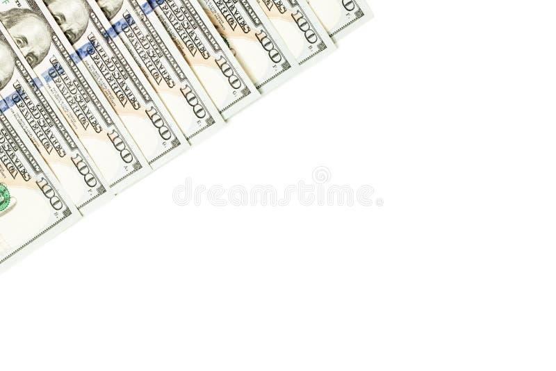 100 dolarowych rachunków granica odizolowywająca na białym tle fotografia stock