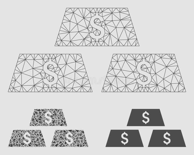 Dolarowych sztaba barów siatki ścierwa trójboka i modela mozaiki Wektorowa ikona ilustracji