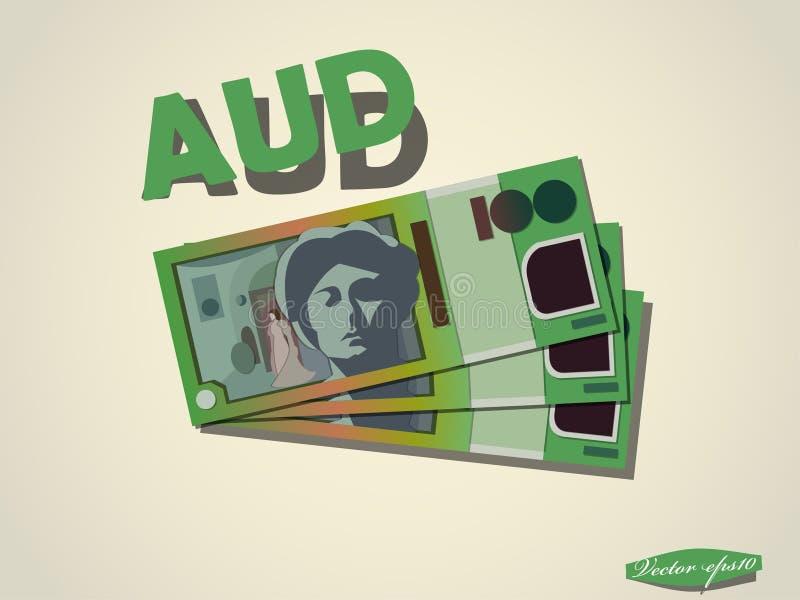 Dolary australijscy pieniądze papieru minimalnego wektorowego graficznego projekta royalty ilustracja