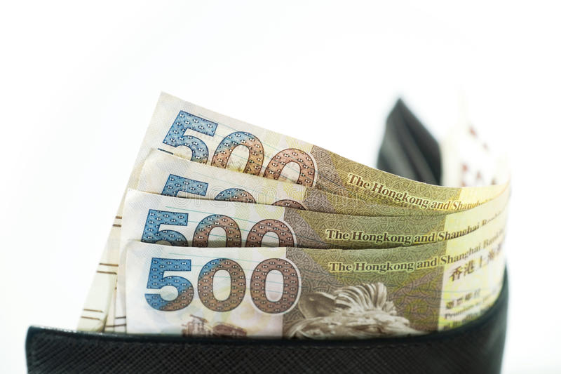 Dolary Hong Kong, Hong Kong portfel, Hong Kong pieniądze zdjęcia stock