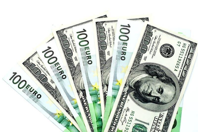 Dolary i euro zdjęcie stock