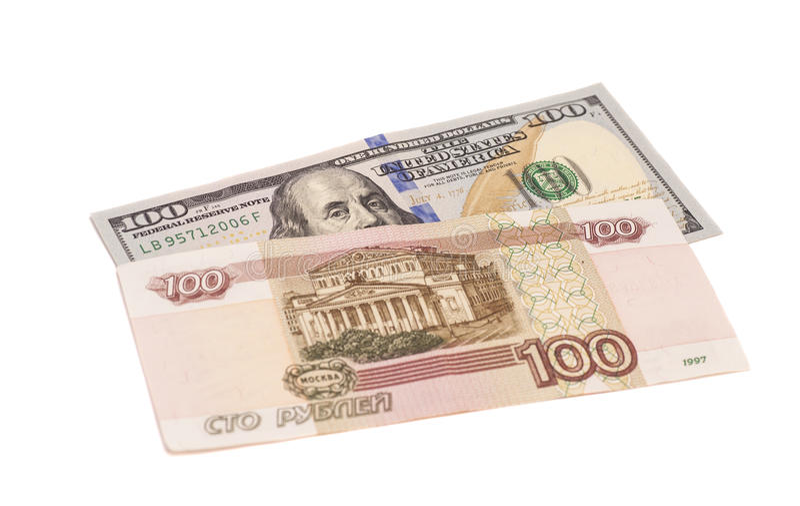 Dolary i Rosyjscy ruble fotografia stock
